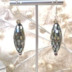 Handmade Sterling Earrings Mother of Pearl & Jade